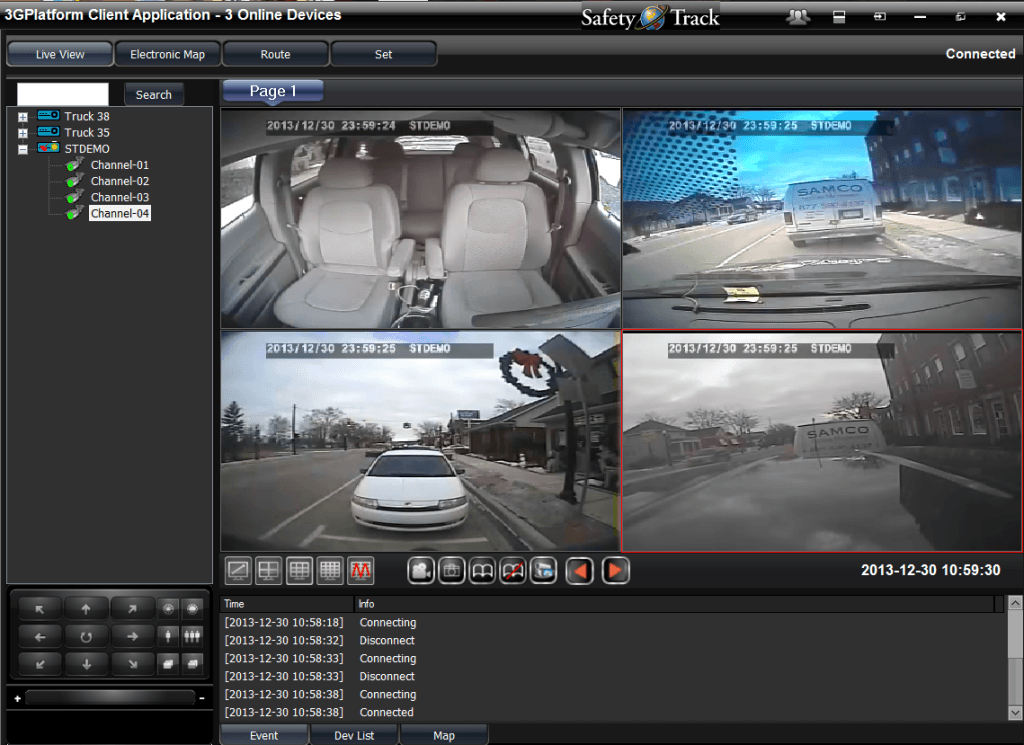 Dash Cam-2 Channel Live Streaming > Safety Track Cameras on